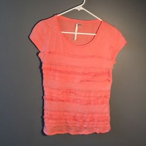 LC Lauren Conrad Coral T-Shirt Tiered Ruffles